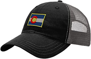 Speedy Pros Colorado Flag State Embroidery Design Richardson Cotton Front and Mesh Back Cap Black/Charcoal