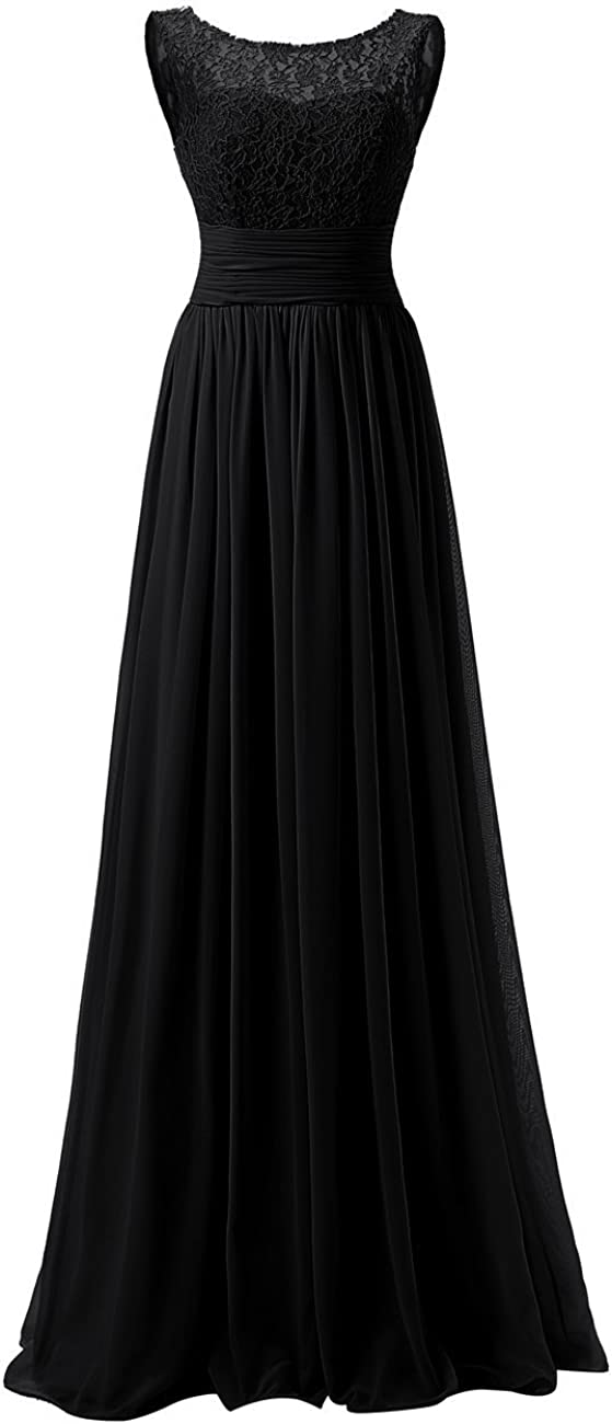 Long Prom Dress Lace Bridesmaid Dresses Chiffon Formal Evening Gowns Pleat