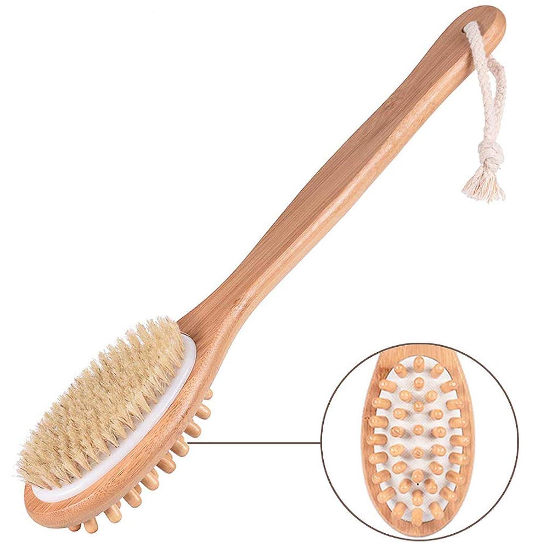 サイクロプス冬悪化させるボディブラシ 天然馬毛 ボディぶらし お風呂 背中 ブラシ 体洗いブラシ 竹製長柄 血行促進 角質除去