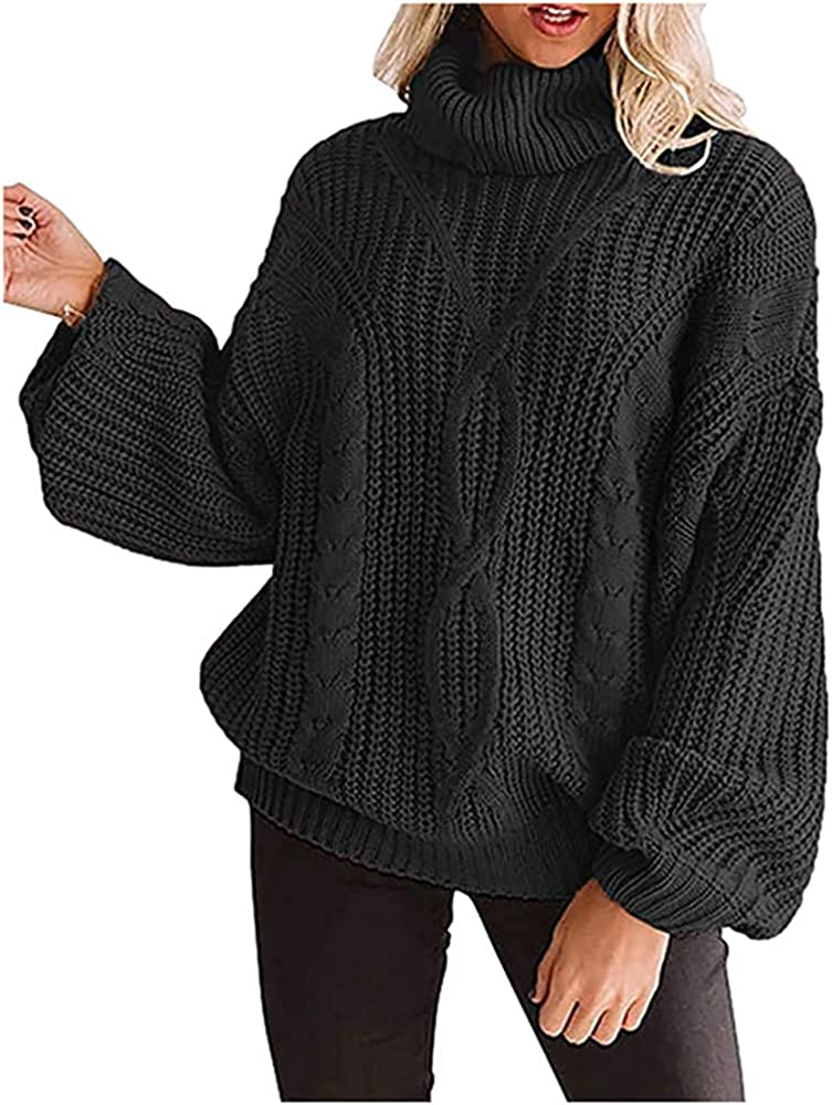 NP Women's Sweaters Long Sleeve Neck Sweater coarse Knitted Winter Blouse