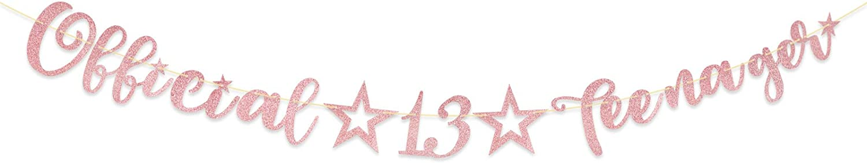Guirnalda Feliz Cumplea/ños 13 A/ños Official☆13☆Teenager Banner Banderines Decoraci/ón Fiesta Cumplea/ños Dorado