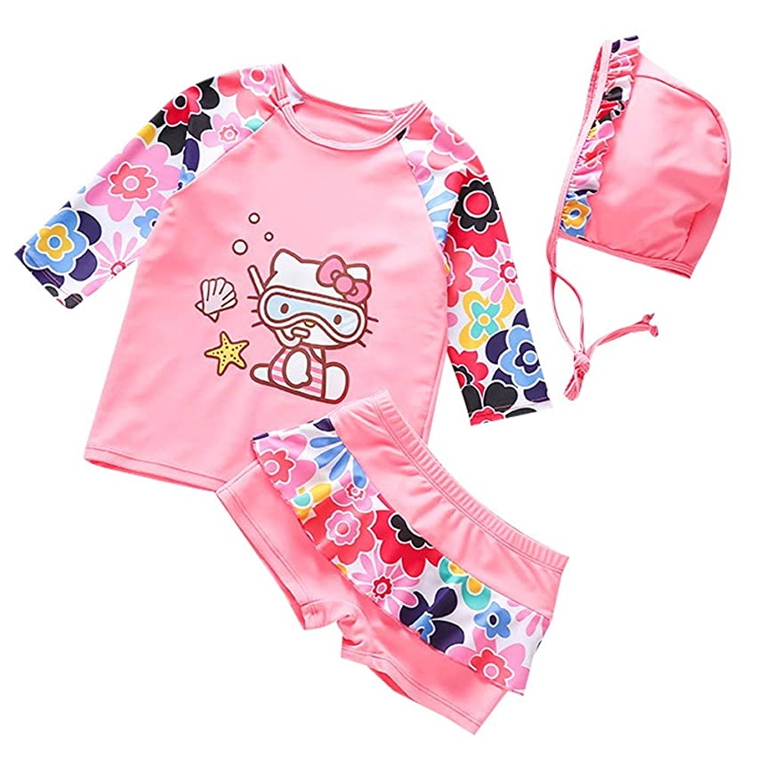 Baby Little Girls Two Piece Pink Rash Guard Set Swimwear Princess Floral Sleeve Bathing Suits Cute Swimsuits Sun Protection