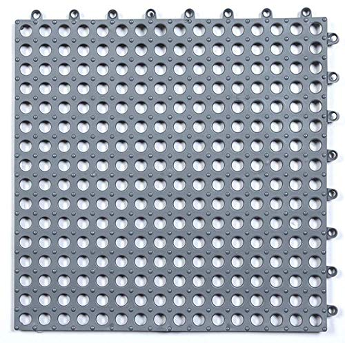 Set of 10 Interlocking Rubber Floor Tiles with Drain Holes DIY Size PVC Drainage Floor Tiles Mat,for Wet Areas Like Pool Pet Area Shower Locker-Room Bathroom Deck Patio Garage Boat (Gray)