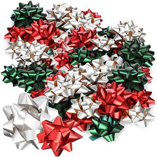 com-four® 48x Geschenkschleife in verschiedenen Größen und Farben - Fertigschleife zur Dekoration von Geschenken zu Weihnachten und Hochzeiten (48 Stück - rot grün silberfarben)