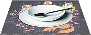 Owls and Fox with Quote Placemats Set of 6 for Kitchen Table Heat Resistant Washable Table Mats