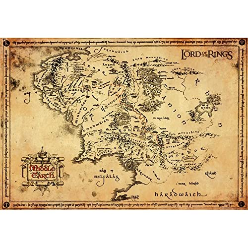 GB Eye, Lord of The Rings Map Pergamena Poster, Legno, Diversi, 65 x 3.5 x 3.5 cm