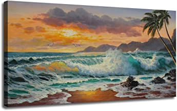 Ardemy Canvas Wall Art Beach Sunset Seawave Tropical Palm Tree Picture Prints, Blue Seascape Large Size Ocean Painting Gallery and Framed Panoramic for Living Room Bedroom Home Office Decor, 40