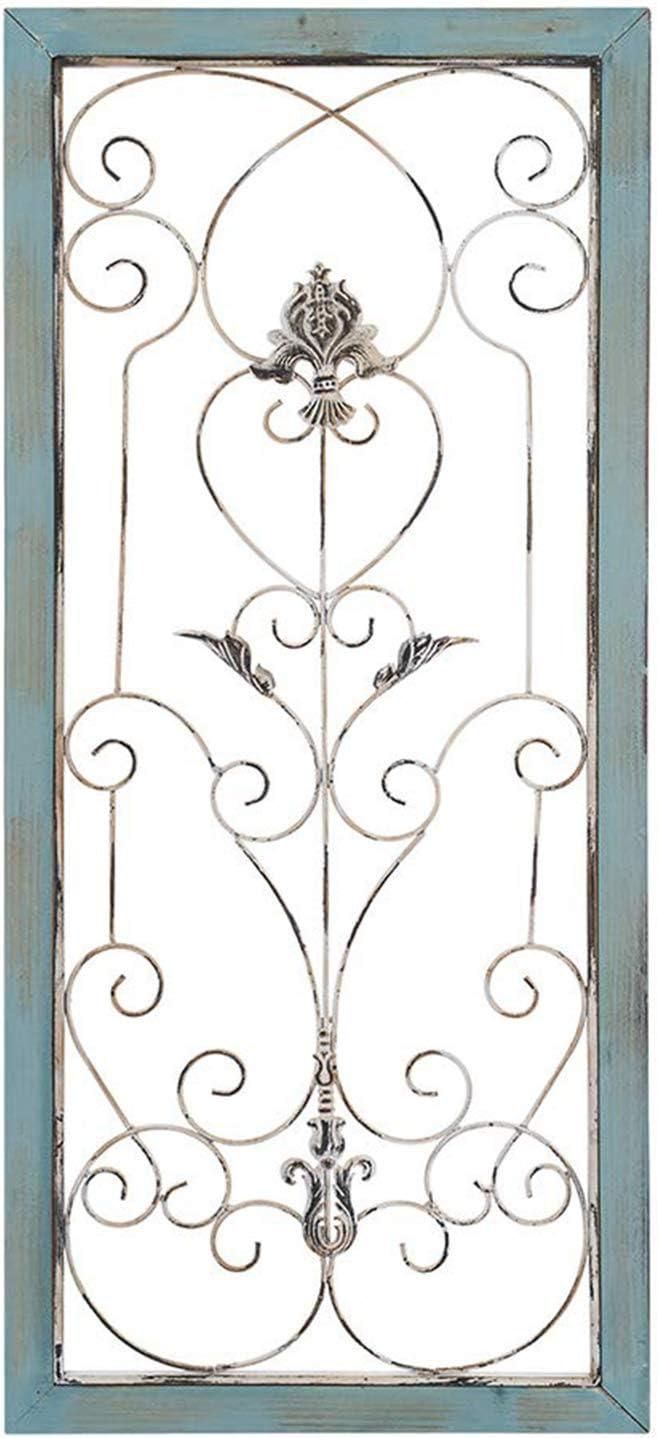 Ahua   Panel de pared de metal de madera para decoración de pared de estilo  clásico industrial y moderno, rectangular, marco de madera con detalles de  ...