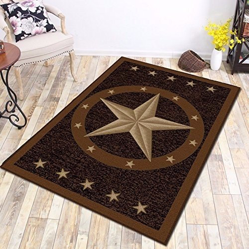 """Furnish My Place 800 Texas Star 3'3"""" Round Cowboy Area Kids Rug, Texas Western Star Rustic, Skid Resistant Rubber Backing Floor Mat, Multicolor"""