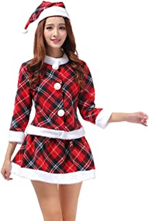 STORTO Women Sexy Christmas Dress Suit Babydoll Plaid Santa Claus Skirt Costume with Hat