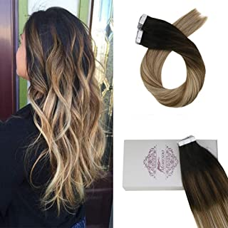 Moresoo 24 Inch Tape in Hair Extensions Human Hair Full Head Glue in Remy Real Hair Extensions 50g Balayage Color Off Black #1B Fading to Light Brown #8 and #27 Bralizian Hair 20pcs