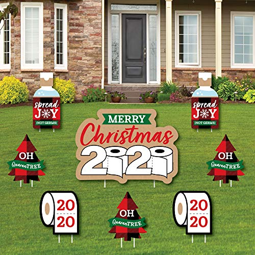 Big Dot of Happiness 2020 Quarantine Christmas - Yard Sign and Outdoor Lawn Decorations - Holiday Party Yard Signs - Set of 8