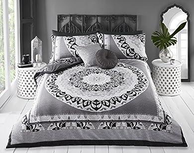 Foto di Pieridae Paisley - Set biancheria da letto matrimoniale copripiumino e federe, con disegno di mandala, (king, grigio)