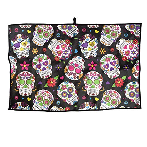 QG ZZX Day of The Dead Sugar Skull Microfiber Golf Towel Soft Comfortable Sport Towel for Gym, Sports, Running, Swimming, Beach 15†X 24â€