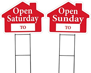 Open Saturday and Open Sunday House Shaped Sign Kit - (Includes 1 of Each Sign and 2 Stakes) (Red)