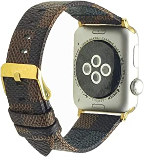 NewSilkRoad For Apple Watch Band 38mm,Classic Plaid Pattern Leather Band Strap with Stainless Metal Buckle for Apple Watch Series 3, Series 2, Series 1, Sport & Edition (C)