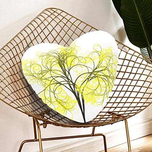 Rtosd Pillows For Decoration Tree Branches Aesthetic Tribe Log Yellow Art Decorative Pillows For Men 13.78 X 13.78 Inch Heart-shaped Cushion Gift For Friends/children/girl/valentine's Day