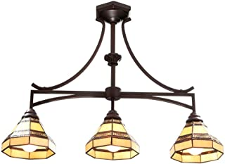 Hampton Bay Model 570323 Addison 3-Light Oil Rubbed Bronze Kitchen Island Light with Tiffany Style Stained Glass Shades