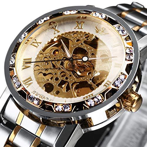 Relojes para hombre, mecánicos, de cuerda manual, esqueleto, clásico, de acero inoxidable, color dorado