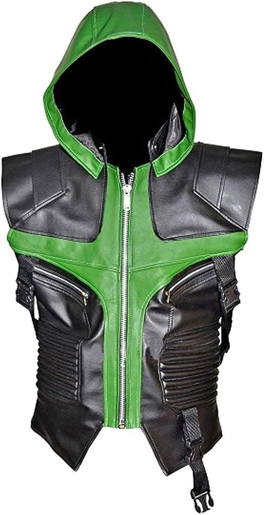 SRHides Men's Fashion Hawkeye Green n Black Hoodie Style Real Leather Vest