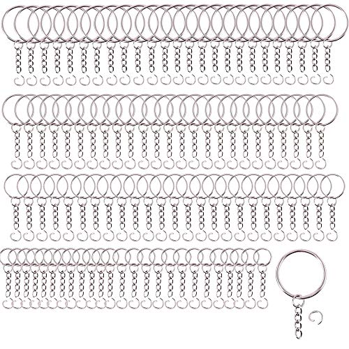 ManLee 100Sets Key Ring Key Chain Rings Keyring Blanks Split Metal Keyrings with Link Chain and Open Jump Rings Bulk for Crafts DIY Jewelry Keyring Making 15/20/25/30mm