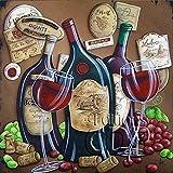 TEDDRA Pintura de diamante Vino Champán Paisaje Completo Redondo Taladro Mosaico Bordado Punto de Cruz Paisaje Cocina Bar Decor-SCF2016_Round 40X50cm