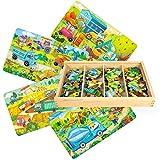 VATOS 4 Verschiedene Baby Holzpuzzle Spielzeug ab 3 4 5 Jahren Jigsaw Puzzles Set Steckpuzzle Pädagogisches Geschenk für Kleinkinder Jungen Mädchen (112 Teile)