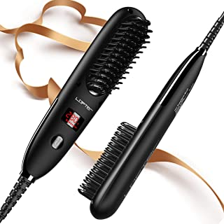 Hair Straightener Brush, LOFTER Ionic Hair Straightening Brush, Anti-Scald Straightening Comb with Auto Temperature Lock & Auto-Off, Overall Natural Lasting Hairstyle, Portable for Home/Travel/Salon