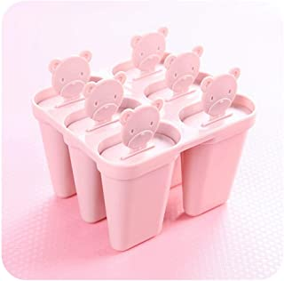 6Pcs/Set Cell Frozen Ice Cream Pop Mold Popsicle Maker Mould Tray Kitchen Ice Cream Tool,Pink