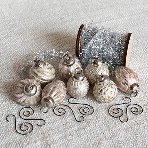 8 Antique Silver & Blush Christmas Ornaments Includes Wood Spool of Vintage-Look Tinsel & Swirl Hooks Perfect Holiday Decorations