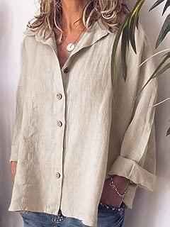 TT WARE Women Casual Button Turn-Down Collar Solid Blouse-Beige-16