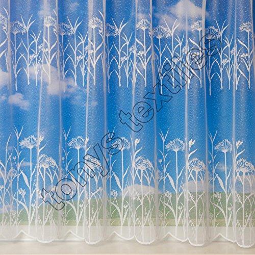 "Tyrone White Sheer Window Treatment Curtain Rod Pocket Top Sold by Metre - 81"" Drop Grenada"