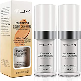 2PCS TLM Flawless Colour Changing Warm Skin Tone Foundation,Naturally Blends Moisturizing foundation makeup,Long Lasting Waterproof Poreless Liquid Foundation SPF 15 for Face Makeup