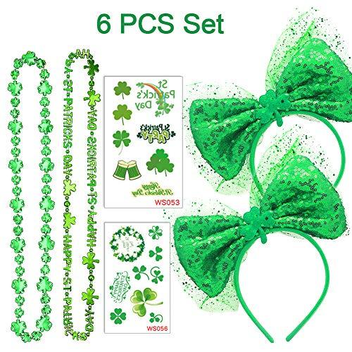 St. Patrick's Day Haarreif 6 Stücke Set - 2X Grün Pailletten Bowknot Haarband & 2X Kleeblätter Halsketten & 2X Kleeblättern Tattoos, Tolles Set für Mädchen, Damen Kostüm Accessoires