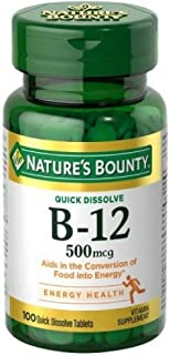 Nature's Bounty Vitamin B-12 500 mcg , 100 Quick Dissolve Tablets (Pack of 2)