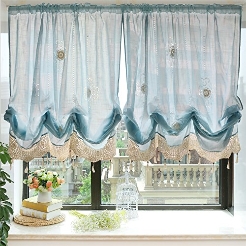 FADFAY Pastoral 57-Inch-by-69-Inch Adjustable Balloon Manual Hook Flower Shade Curtain, Light Blue, 1 Panel
