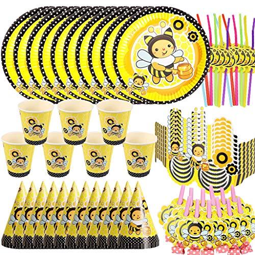 DreamJing 72-Teiliges Biene Party Set für 12 Personen Geburtstags Deko Tischdeko Partygeschirr Kindergeburtstag Mottoparty Tropische Sommerparty