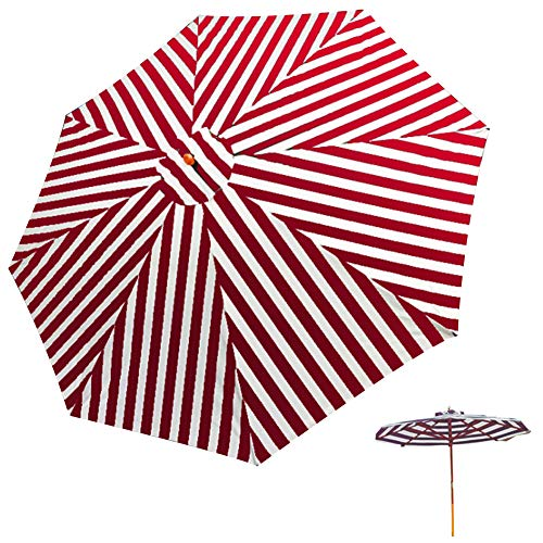 2.7 M/8.9 ft Garden Patio Sun Parasol Umbrella, Hanging Canopy Sun Shade Octagonal with 8-Ribs Easy Assembly Waterproof UV Protective For Beach/Pool/Patio/Patio Sun Shade Shelter Tent,red white wood 1