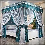 XLBHSH Princess Bett Baldachin Schlafzimmer 4 Eckpfosten Baldachin Vorhänge doppelt verschlüsseltes Moskitonetz Blackout-Bettvorhänge für King-Size,Blau,200x 220x 200cm