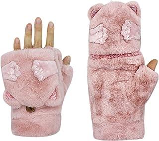 Women Warm Winter Gloves Mittens Teen Girls Cute Cat Rabbit Convertible Gloves Soft Fleece Lined with Cover