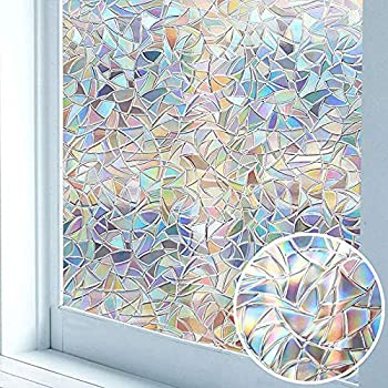 Niviy Rainbow Window Film Privacy Window Sticker Vinyl 3D Decorative Window Cling Non Adhesive Removable Window Covering for Living Room Kitchen Office 11.8 x 78.7 inches