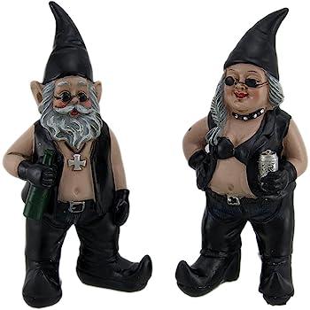 Zeckos Gnoschitt and Gnofun Thirsty Biker Gnome Couple Statues Resin 7.5 Inch Yard Garden Gnome Lawn Decor or Desk Shelf Decorations Resin Weather Resistant