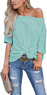 LACOZY Women's Waffle Knit Off The Shoulder Tops Knot Batwing Shirt Tunic Blouse