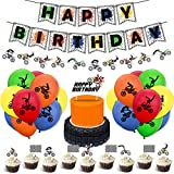 Motocross Bunting Banner Dirt Bike Garland Cake Topper Motorcycle Cupcake Toppers Latex Balloons Set for Dirt Bike Extreme Sports Racing Party Supplies Boy Birthday Party Decor