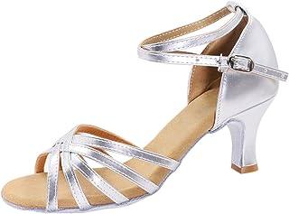 8bd2c5ea5752 FREE Shipping on eligible orders. GetMine Women s Professional Latin Dance  Shoes Satin Salsa Ballroom Wedding Dancing Shoes 2.4   Heel