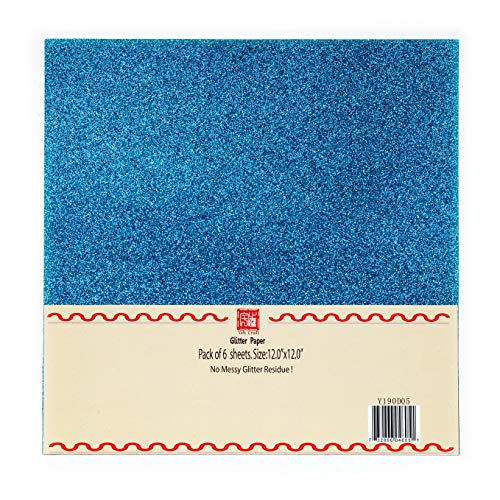 YZH Crafts Glitter Cardstock Paper,Glitter on Both Sides, No-Shed Shimmer Glitter Paper, 12 Inch by 12 Inch 10 Sheets,250GSM, (Blue)