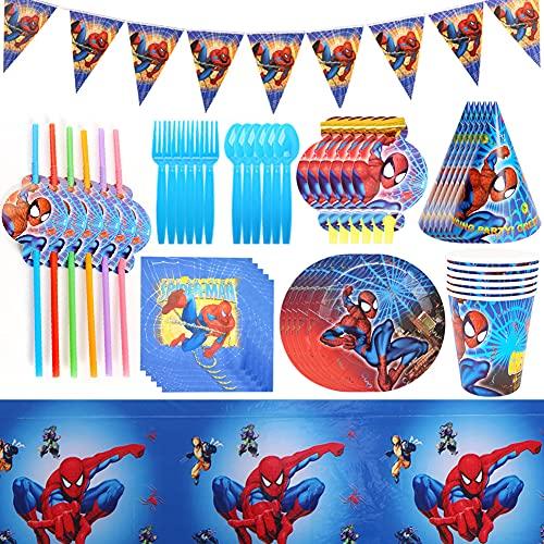 CYSJ Ensemble Vaisselle Fête, 54 Pcs Ensemble de Vaisselle de Fête Spiderman,pour Anniversaire DA'enfant,Décoration de Table,Spiderman Kit de Décoration de Fête à Thème