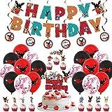 Decoración para fiesta de cumpleaños de Bing Bunny, accesorios para fiestas infantiles, incluye pancarta 'Happy Birthday', globos temáticos de Bing Bunny, bandera para tartas, decoración para colgar