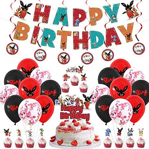 Bing Bunny Geburtstagsfeier Dekorationen, Partyzubehör für Kinder enthalten HAPPY BIRTHDAY Banner, Bing Bunny Themenballons, Kuchenfahne, Cupcake Topper, Hanging Swirl Dekorationen