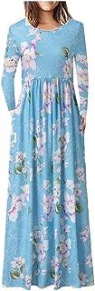 Honestyivan Women's Casual Boho Floral Print O-Neck Long Sleeve Pocket Dress Loose Swing Dress Party Dress Fall